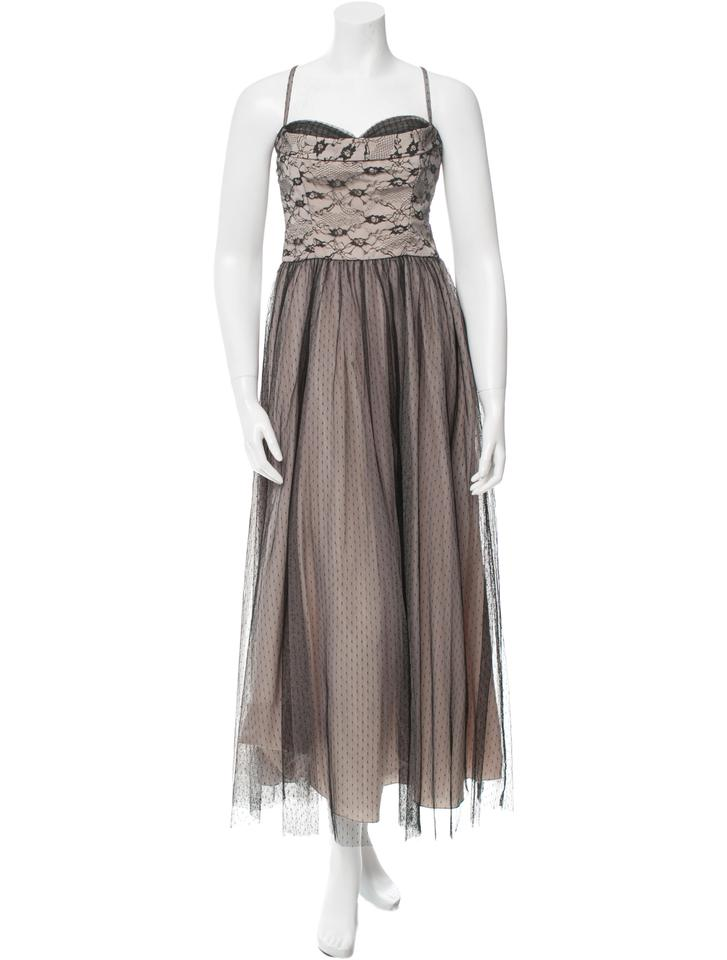 RED Valentino Grey Black Lace Long Night Out Dress Size 6 (S) - Tradesy