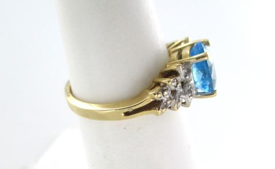 Other 14K Yellow Solid Gold 6 Diamond & Blue Stone Ring