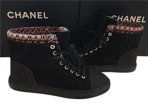 Chanel Mesh Suede High Top Black Boots