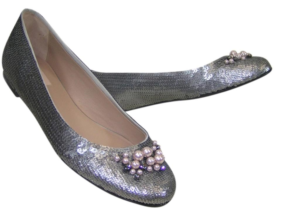 Silver Flats For Wedding.Valentino Silver Sequins Pearls Dress Wedding 10 Flats Size Eu 40 Approx Us 10 Regular M B 52 Off Retail