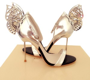 Sophia Webster Patent Leather Butterfly Silver Sandals