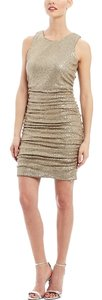 Aidan Mattox Shirred Fitted Party Evening Holiday New Year's Eve Wedding Metallic Knit Sexy Fun Dress