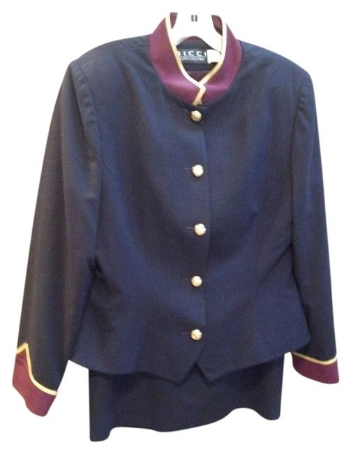 Item - Navy and Burgundy Bell Hop Skirt Suit Size 14 (L)