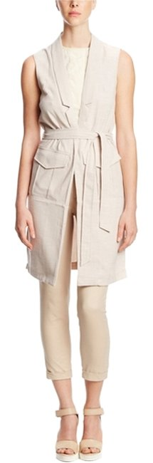 "Item - Stone / Beige Sleeveless Vest with Tie Waist"" Jacket Size 6 (S)"