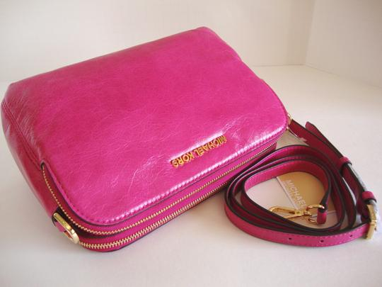 Michael Kors Distressed Leather Color Medium Size Crossbody Fuchsia Messenger Bag