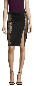 Do & Be Slit Embroidered Pencil Day Party Evening Holiday Skirt Black and Gold