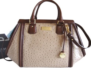 Brahmin Ostrich Emb Leather Satchel in Rose Gold