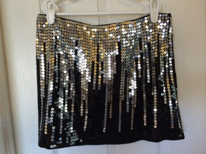 bebe Mini Skirt Black Sequins