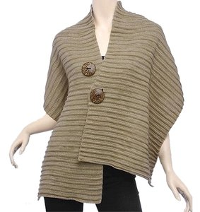 New, Taupe/IvoryCoconut Button Shawl