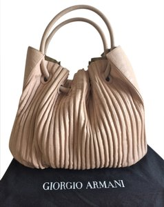 Giorgio Armani Croc-embossed Slouchy Pleated Tote in Nude