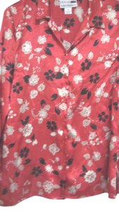 Leslie Fay Longsleeve Multicolor 100 % Polyester Red Casual Top Red Multicolor