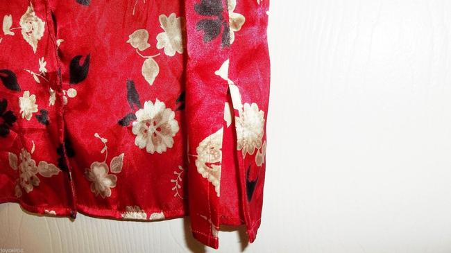 Leslie Fay Longsleeve % Polyester Casual Top Red Multicolor