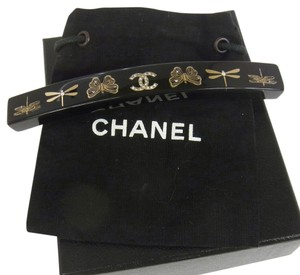 Chanel Authentic CHANEL Vintage CC Logos Rhinestone Hair Barrette Black Plastic NR05011