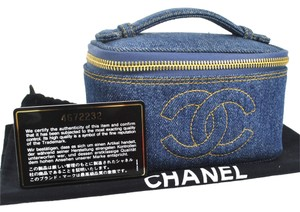 Chanel Authentic CHANEL CC Cosmetic Hand Bag Pouch Blue Denim Italy Vintage BA00387
