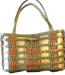 Nancy Gonzalez Hand Leather Basket Weave Tote in Orange & moss green