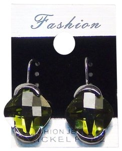 Fashion Jewelry Drop Earrings - Silver Tone with Green Color Gemstone.