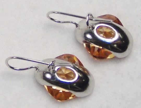 Other Fashion Jewelry Drop Earrings - Silver Tone with Amber Color Gemstone.