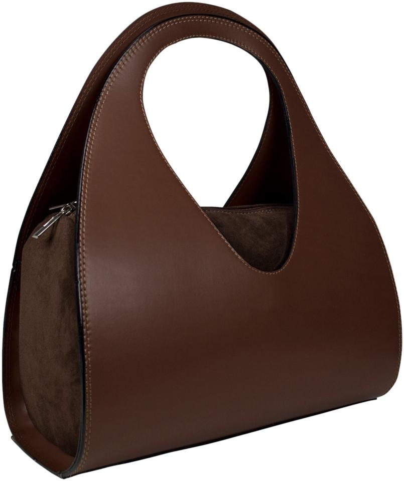 Italian Genuine Leather Round Handbag Tote with Removable Strap. Made In  Italy. Brown Shoulder Bag
