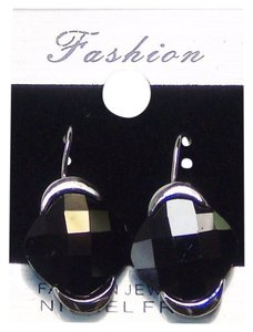 Fashion Jewelry Drop Earrings - Silver Tone with Black Color Gemstone.
