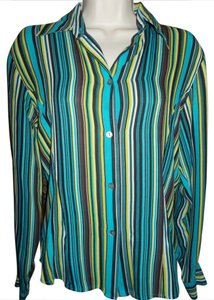 Ishyu Top Multi blue-green stripe