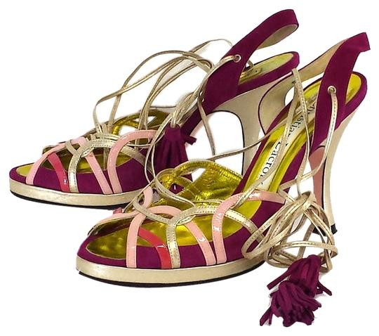 Preload https://item2.tradesy.com/images/christian-lacroix-magenta-and-gold-lace-up-heels-sandals-size-us-5-10280986-0-1.jpg?width=440&height=440