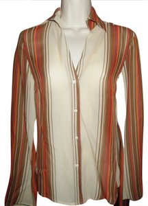The Limited Button Down Shirt Multi Beige/Brown/Red stripe