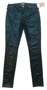 True Religion Low Rise Python Snake Print Skinny Pants Black
