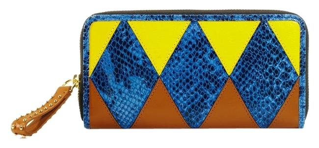 Item - Blue Multi Harlequin Leather Zip Wallet