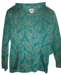 Bianca New Skirt Suit by Bianca for Evening, Sz PL, Green/Metallic Gold, Of Lurex /Polyester