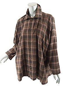 Eskandar Button Down Top Plaid