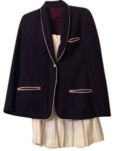 Villagio Navy Blue and White Skirt Suit