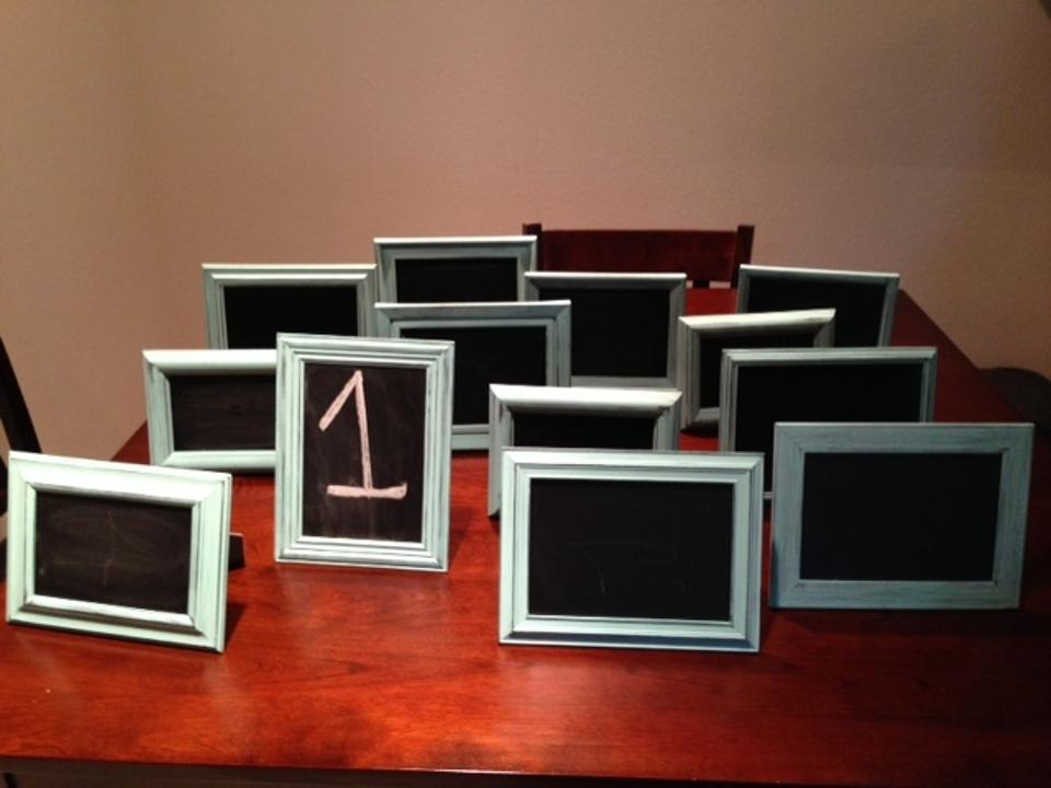 Light Aqua Rustic Chalk Board Picture Frames Reception Decoration
