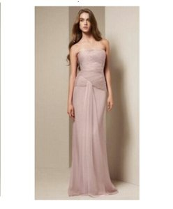 Vera Wang Light Pink Satin and Tulle Formal Bridesmaid/Mob Dress Size 4 (S)