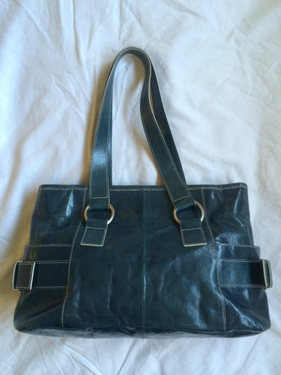 Kenneth Cole Silver Hardware Leather Satchel in Turquoise