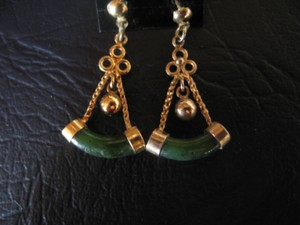 Jade & Gold Earrings 1-1/2