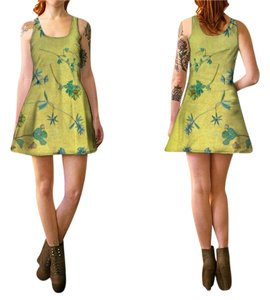 Other short dress Gold and multi color flowers Vintage Wildflower Tank Style Flare Bridesmaid Boho Chic Night Out on Tradesy