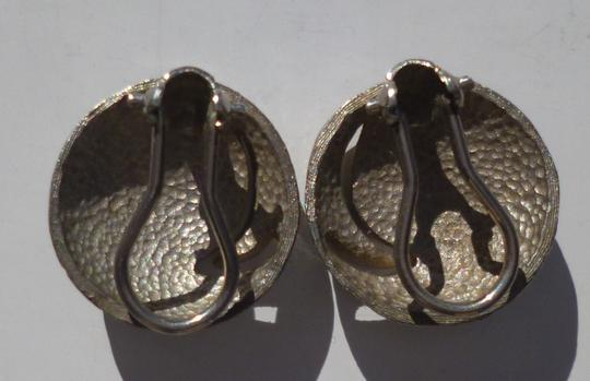 Other Vintage Clip Earrings Round Silver Tone Crescent Moon C. 1960