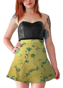 Other Go To Pull On Beach Cover-up Flare Mini Skirt Gold with Multi Colored flowers