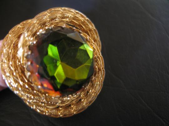 Other Vintage Pin - Gold Rope with Amber Green Stone 1-1/2