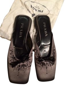 Prada Flat Slide Square Toe Gray Flats