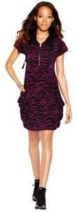 Kensie short dress Black & purple Multi-color Swirls Small Flutter Sleeves Tie Neck Zipper Chest on Tradesy