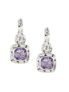 John Hardy John Hardy Batu Kali Amethyst Drop Post Earrings Sterling Silver