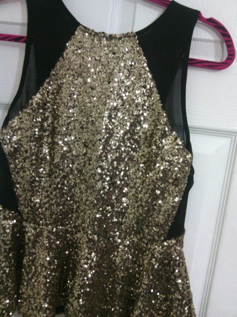 Do & Be Sheer Do&be Peplum Top gold sequence and black