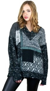 Donagain Patchwork Thick Knit V-neck Sweater