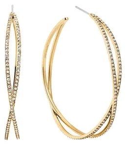 Michael Kors Michael Kors MKJ4406710 CrissCross Crystal Gold Hoop Earrings NEW
