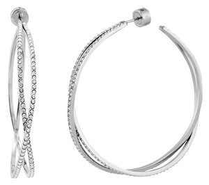 Michael Kors Michael Kors MKJ4407040 Criss-Cross Pave Crystal Silver tone Hoop Earrings NEW! $125