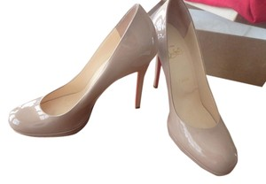 Christian Louboutin Patent Leather Pump Nude Platforms