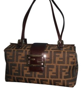 Fendi Handbag Zucchino Brown Monogram Baguette