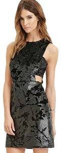 Forever 21 Sequin Velvet Party Festive Exposed Zipper Dress