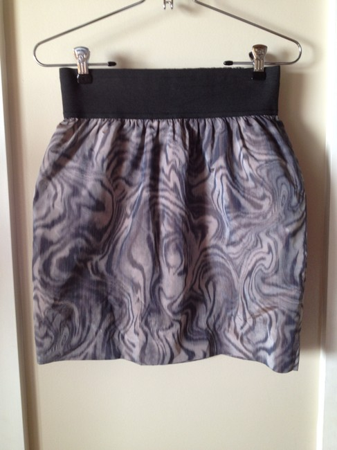 Aryn K. Mini High-wasted Mini Skirt Grey/Purple Print